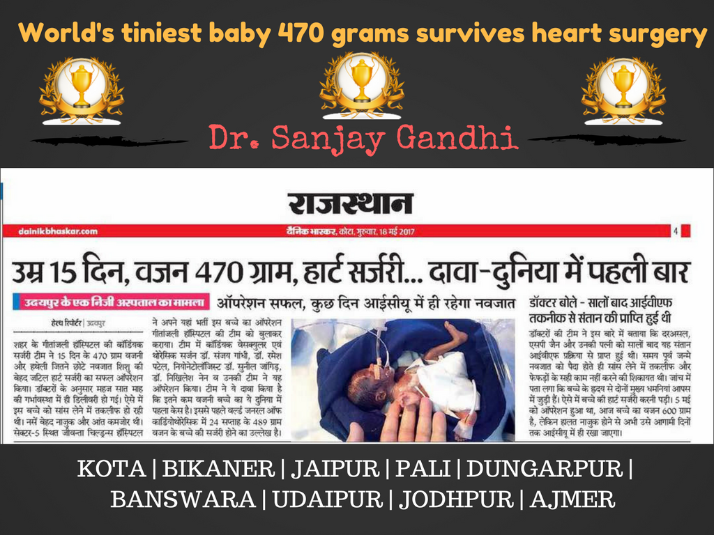 Dr. Sanjay Gandhi World's tiniest baby 470 grams survives heart surgery